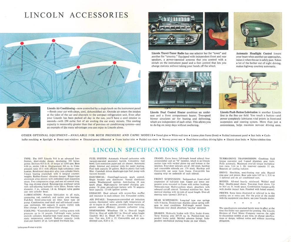 Lincoln Premiere 1957 Ford Us Car Oldtimer Klassiker Owl 57 Wiring Diagram Teile Daten Und Continental 1955 64 Reklame